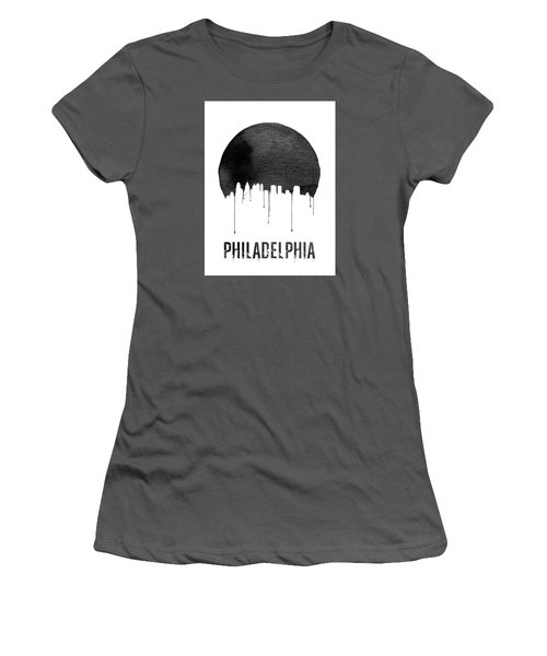 Philadelphia Skyline White Women's T-Shirt (Junior Cut) by Naxart Studio