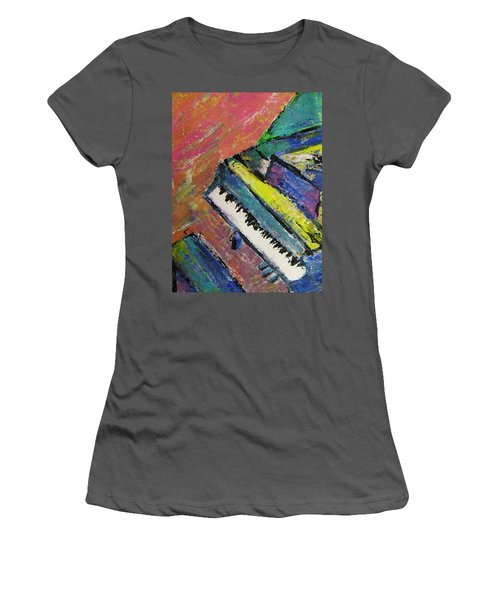 Piano With Yellow Women's T-Shirt (Athletic Fit)