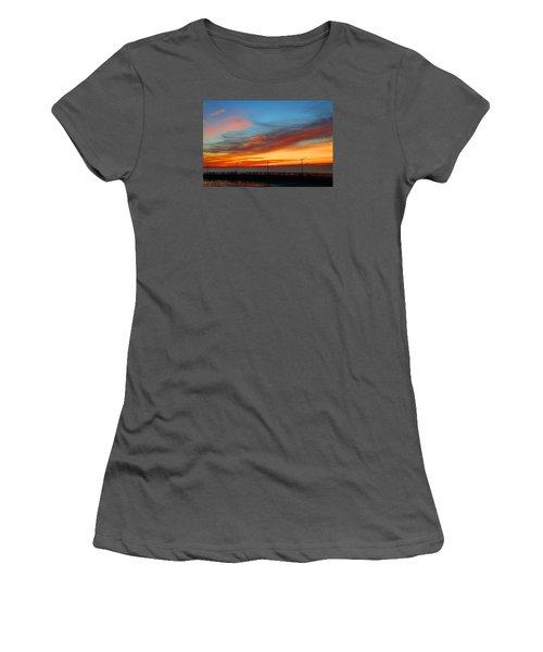 Women's T-Shirt (Junior Cut) featuring the photograph Pier Sunrise by Michael Rucker