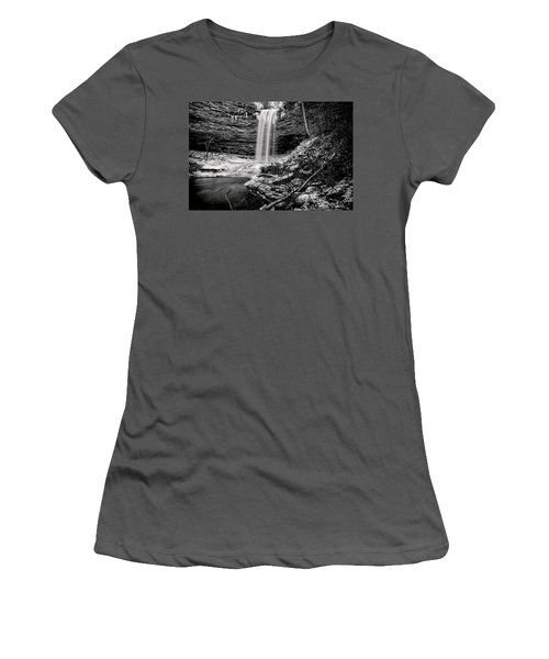 Piney Falls In Black And White Women's T-Shirt (Athletic Fit)