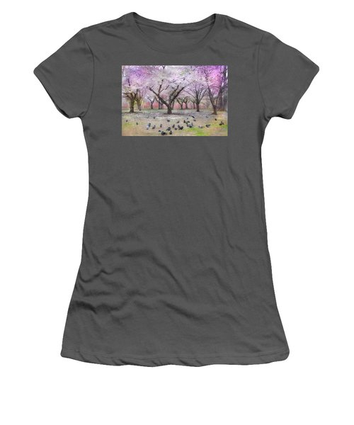 Women's T-Shirt (Junior Cut) featuring the photograph Pink And White Spring Blossoms - Boston Common by Joann Vitali