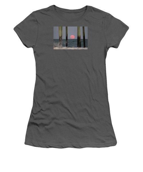 Pink Moon Rising Women's T-Shirt (Junior Cut) by Robert Banach