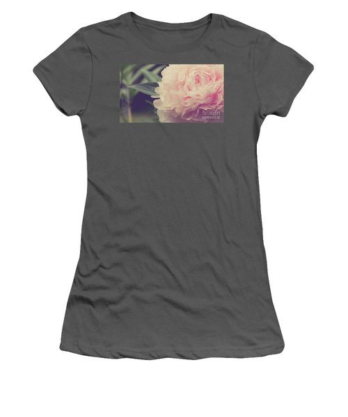 Women's T-Shirt (Athletic Fit) featuring the photograph Pink Peony Vintage Style by Edward Fielding