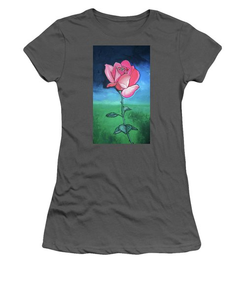 Pink Rose Women's T-Shirt (Junior Cut) by Mary Ellen Frazee