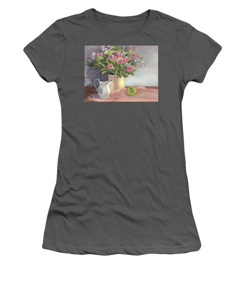 Women's T-Shirt (Junior Cut) featuring the painting Pink Roses by Vikki Bouffard