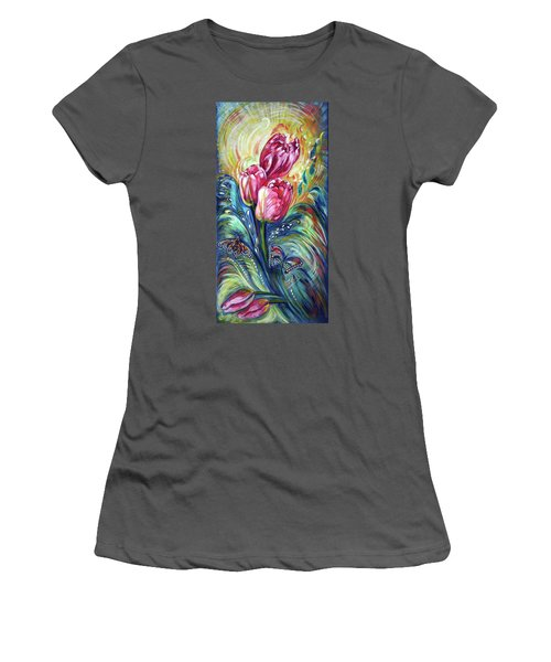 Pink Tulips And Butterflies Women's T-Shirt (Athletic Fit)