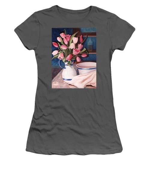 Women's T-Shirt (Junior Cut) featuring the painting Pink Tulips by Renate Nadi Wesley