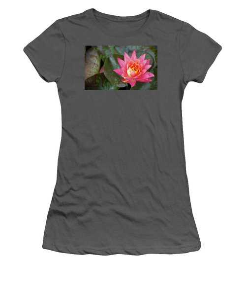 Women's T-Shirt (Athletic Fit) featuring the photograph Pink Water Lily Beauty by Amee Cave