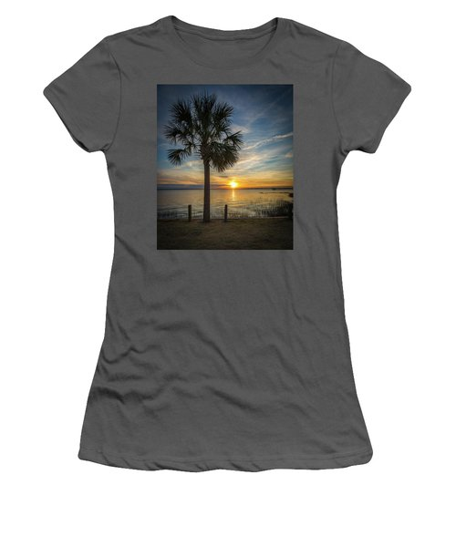 Pitt Street Bridge Palmetto Tree Sunset Women's T-Shirt (Athletic Fit)