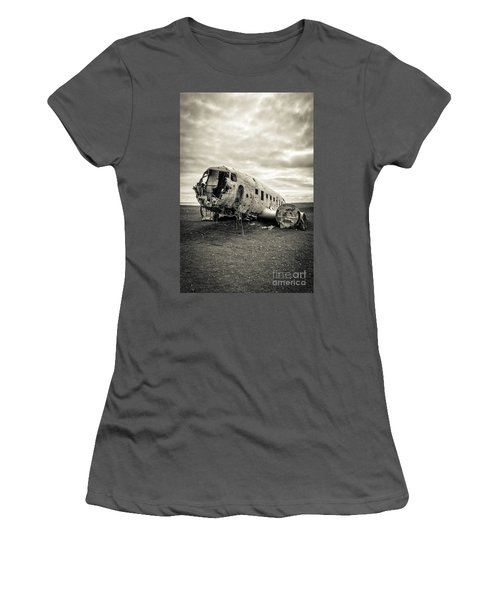 Women's T-Shirt (Athletic Fit) featuring the photograph Plane Crash Iceland by Edward Fielding