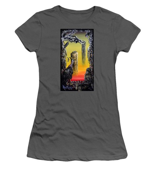 Women's T-Shirt (Junior Cut) featuring the painting Planet Of Anomalies by Ryan Demaree