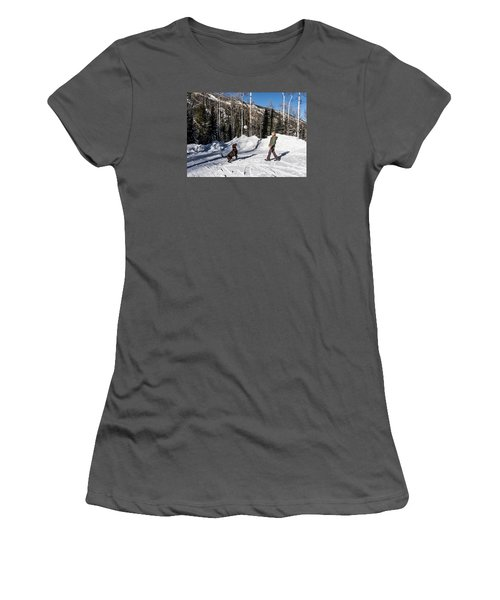 Playing Ball With A Beautiful Chocolate Lab Women's T-Shirt (Athletic Fit)