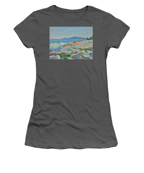 Playing On Schoodic Rocks Women's T-Shirt (Athletic Fit)