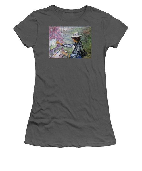 Women's T-Shirt (Junior Cut) featuring the painting Plein-air Painter  by Gretchen Allen