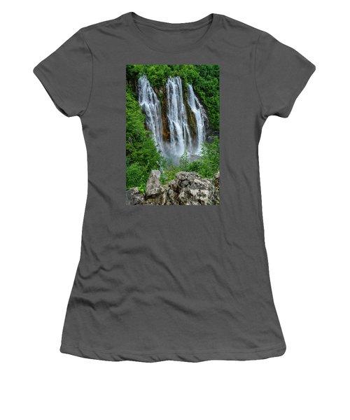 Plitvice Lakes Waterfall - A Balkan Wonder In Croatia Women's T-Shirt (Athletic Fit)