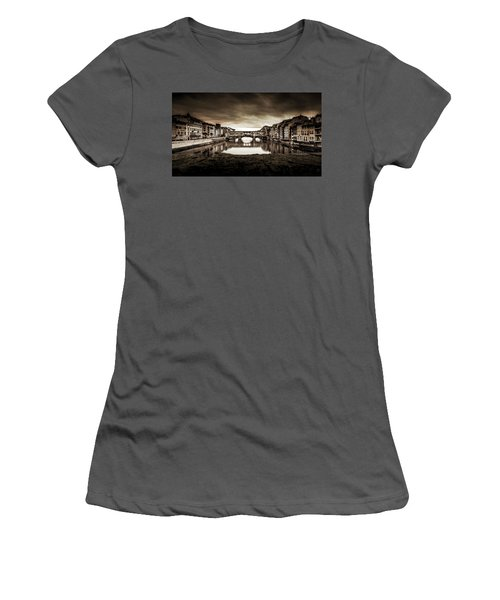 Women's T-Shirt (Junior Cut) featuring the photograph Ponte Vecchio In Sepia by Sonny Marcyan