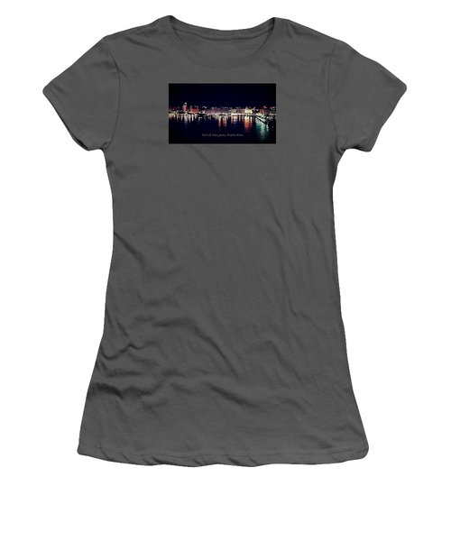 Women's T-Shirt (Junior Cut) featuring the photograph Port Of San Juan Night Lights by DigiArt Diaries by Vicky B Fuller