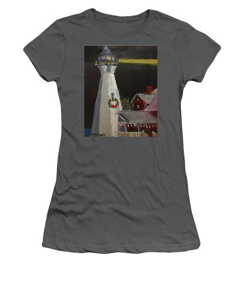 Port Sanilac Lighthouse At Christmas Women's T-Shirt (Athletic Fit)