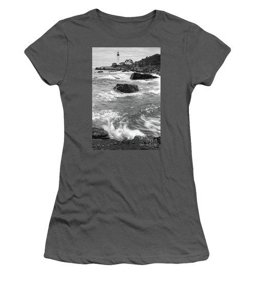 Portland Head Light Under Heavy Skies  -88356 Women's T-Shirt (Athletic Fit)