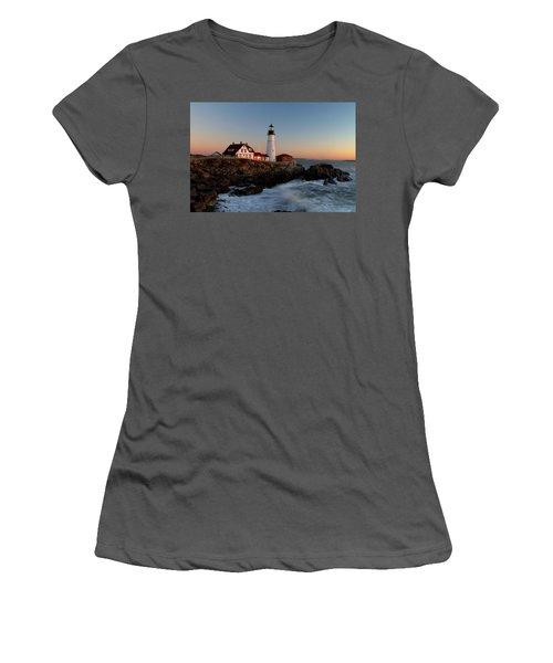 Portland Head Lighthouse Sunrise Women's T-Shirt (Athletic Fit)