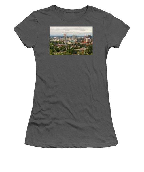 Portland Oregon Downtown Cityscape By Freeway Women's T-Shirt (Athletic Fit)