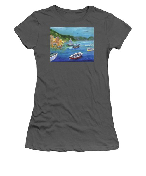 Women's T-Shirt (Athletic Fit) featuring the painting Portofino, Italy by Jamie Frier