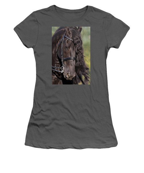 Women's T-Shirt (Junior Cut) featuring the photograph Portrait Of A Friesian D6438 by Wes and Dotty Weber