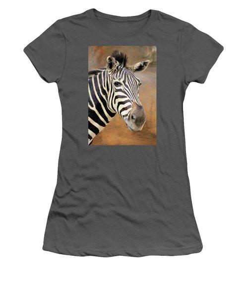 Portrait Of A Zebra Women's T-Shirt (Junior Cut) by Rosalie Scanlon