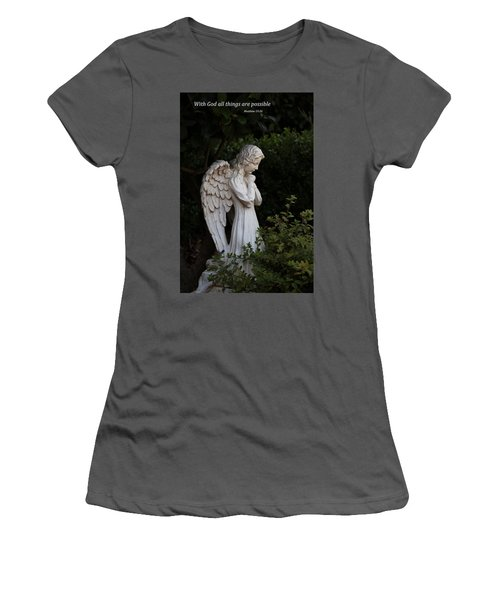 Praying Angel With Verse Women's T-Shirt (Junior Cut) by Kathleen Scanlan