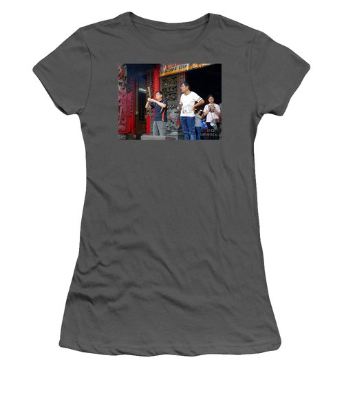Women's T-Shirt (Junior Cut) featuring the photograph Praying At A Temple In Taiwan by Yali Shi