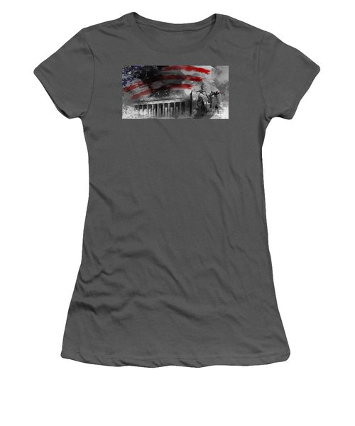 Women's T-Shirt (Junior Cut) featuring the painting President Lincoln  by Gull G