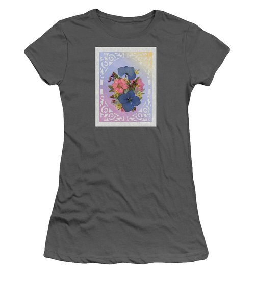 Pressed Flowers Arrangement With Pink Larkspur And Hydrangea Women's T-Shirt (Athletic Fit)