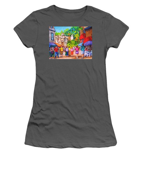 Women's T-Shirt (Junior Cut) featuring the painting Prince Arthur Street Montreal by Carole Spandau