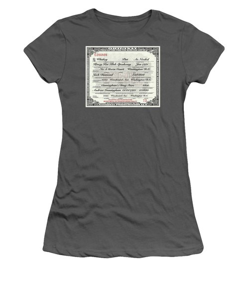 Women's T-Shirt (Junior Cut) featuring the photograph Prohibition Prescription Certificate Krazy Kat Klub by David Patterson