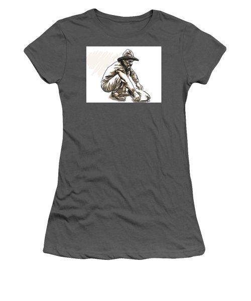 Women's T-Shirt (Junior Cut) featuring the drawing Prospector by Antonio Romero