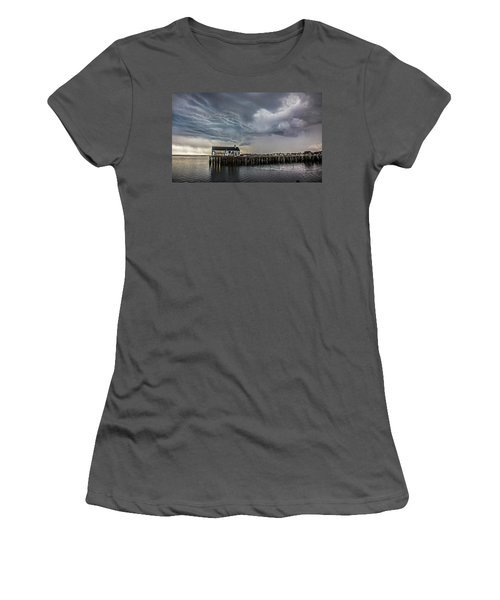 Women's T-Shirt (Athletic Fit) featuring the photograph Provincetown Storm, Cabrals Wharf by Charles Harden