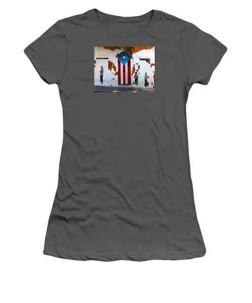 Puerto Rican Flag On Wooden Door Women's T-Shirt (Athletic Fit)