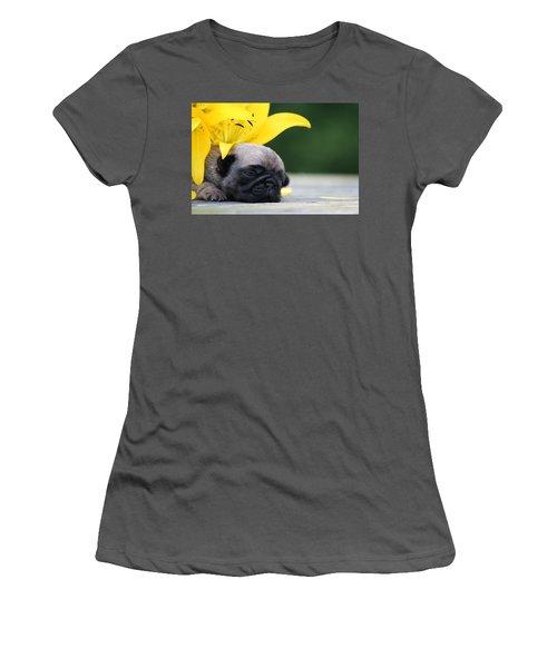 Puggy Face Bouqet Women's T-Shirt (Athletic Fit)