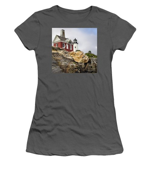 Pumphouse And Tower, Pemaquid Light, Bristol, Maine  -18958 Women's T-Shirt (Athletic Fit)