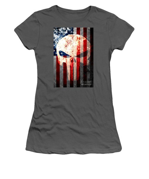Punisher Skull And American Flag On Distressed Metal Sheet Women's T-Shirt (Athletic Fit)