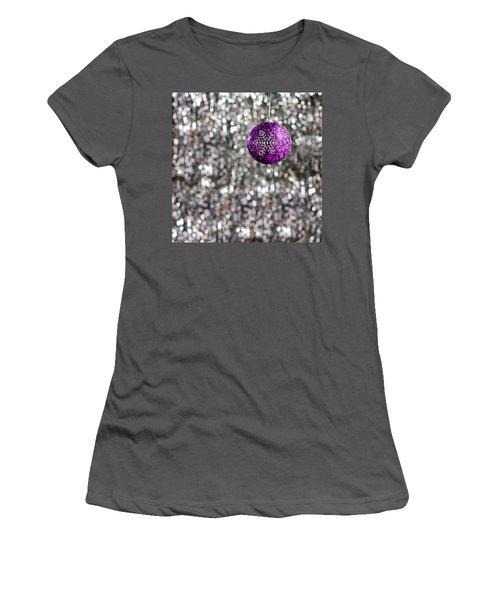 Women's T-Shirt (Junior Cut) featuring the photograph Purple Christmas Bauble  by Ulrich Schade