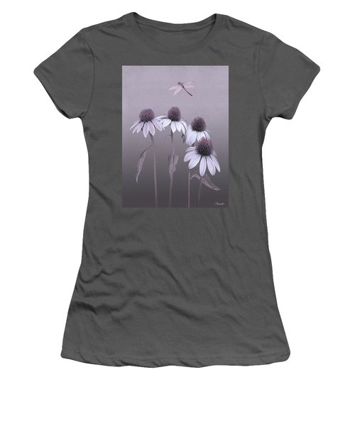 Purple Coneflowers And Dragonfly Women's T-Shirt (Athletic Fit)