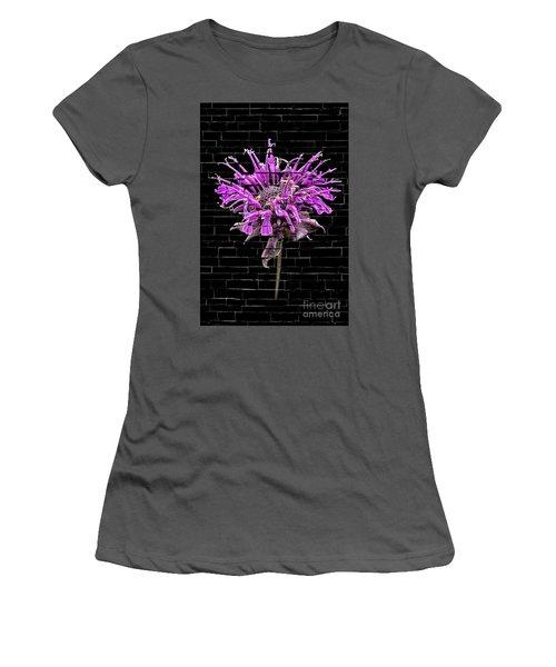 Purple Flower Under Bricks Women's T-Shirt (Athletic Fit)