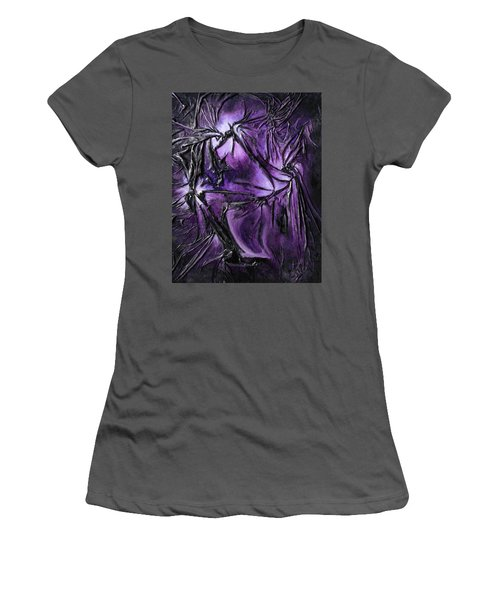 Women's T-Shirt (Junior Cut) featuring the mixed media Purple Pedals by Angela Stout