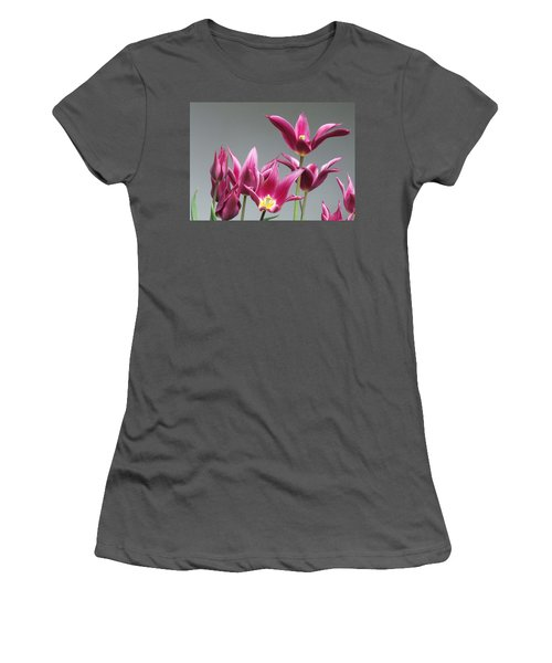 Purple Tulips Women's T-Shirt (Junior Cut) by Helen Northcott