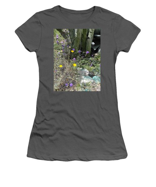 Purple Yellow Flowers Green Cactus Women's T-Shirt (Athletic Fit)
