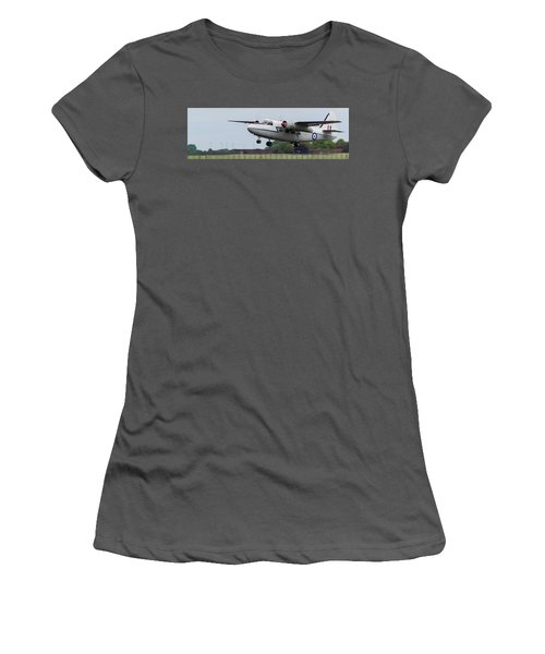 Women's T-Shirt (Athletic Fit) featuring the photograph Raf Scampton 2017 - Hunting Percival P 66 Pembroke Taking Off by Scott Lyons