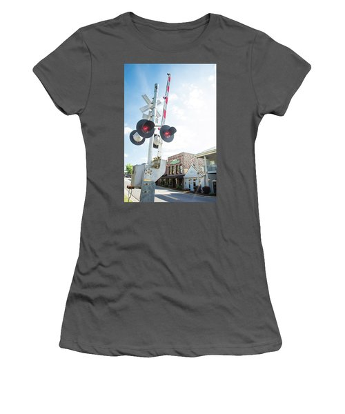 Women's T-Shirt (Junior Cut) featuring the photograph Railroad Lights In Old Town Helena by Parker Cunningham