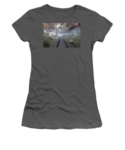 Women's T-Shirt (Junior Cut) featuring the digital art Rails To A Forgotten Place by Kai Saarto