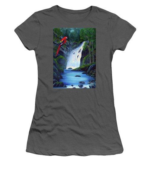 Rain Forest Macaws Women's T-Shirt (Junior Cut) by Stanton Allaben